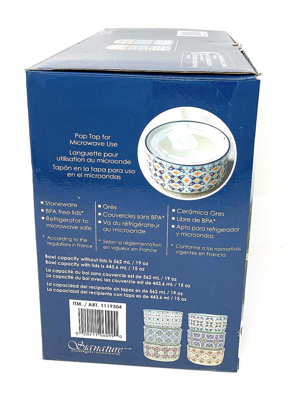 Amazon.com: Signature - Cuencos microondas, con tapa, 6 ...