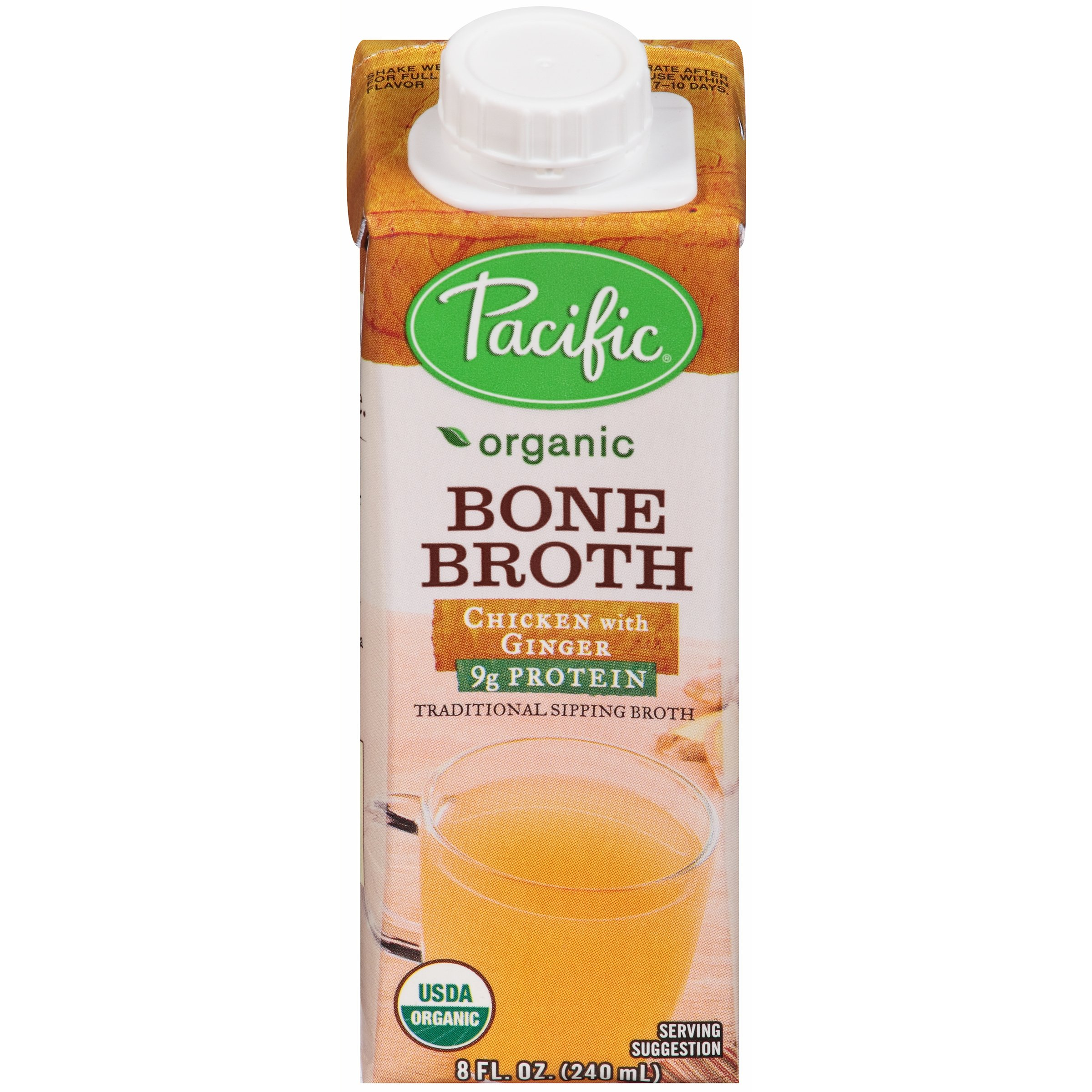Pacific Foods Organic Bone Broth, Chicken with Ginger, 8-Ounce Cartons, 12-Pack