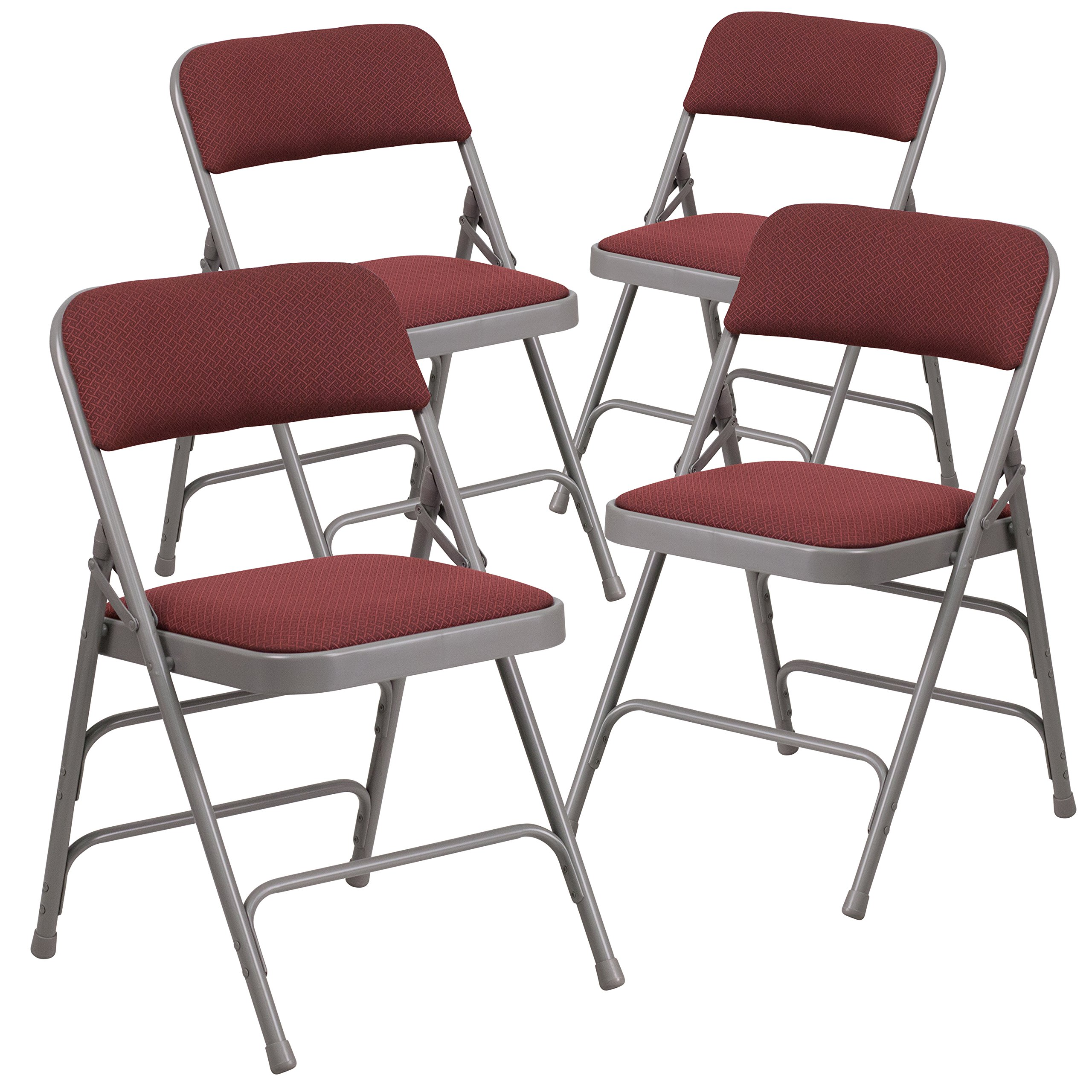 Flash Furniture 4 Pk. HERCULES Series Curved Triple Braced & Double Hinged Burgundy Patterned Fabric Metal Folding Chair