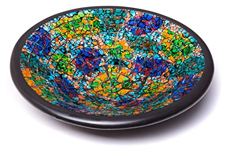 Glass Mosaic Round Accent Plate Platter Decorative Catch-All Tray Dish Centerpiece Bowl - 11\u0026quot  sc 1 st  Amazon.com & Amazon.com: Glass Mosaic Round Accent Plate Platter Decorative Catch ...