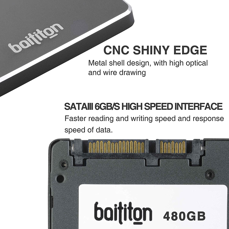 BAITITON 2,5 Pouces SATA III Disque Flash SSD 256 Go Interne Solid State Drive Lecture 550Mo//s Ecriture 530Mo//s 256GB