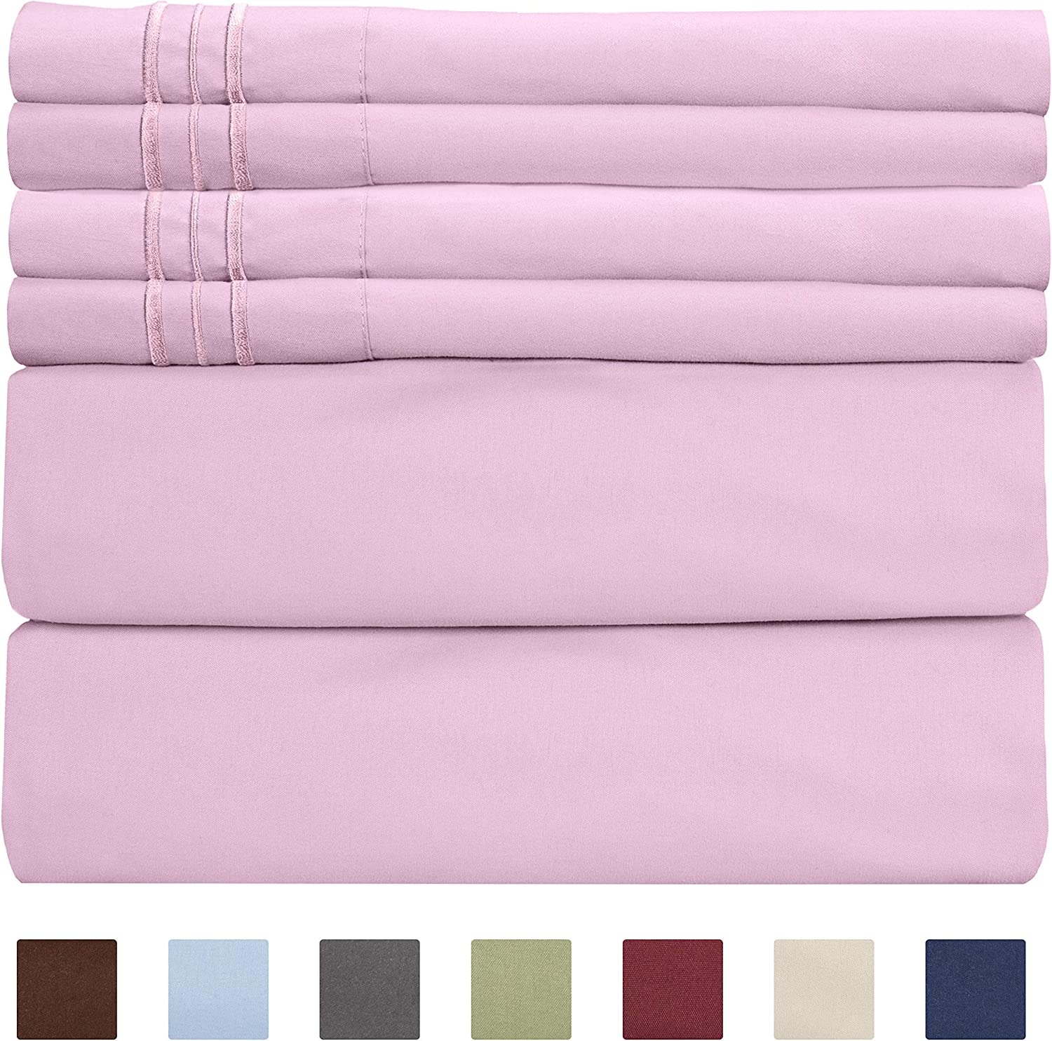 King Size Sheet Set - 6 Piece Set - Hotel Luxury Bed Sheets - Extra Soft - Deep Pockets - Easy Fit - Breathable & Cooling Sheets - Wrinkle Free - Comfy - Light Pink Bed Sheets - Kings Sheets - 6 PC
