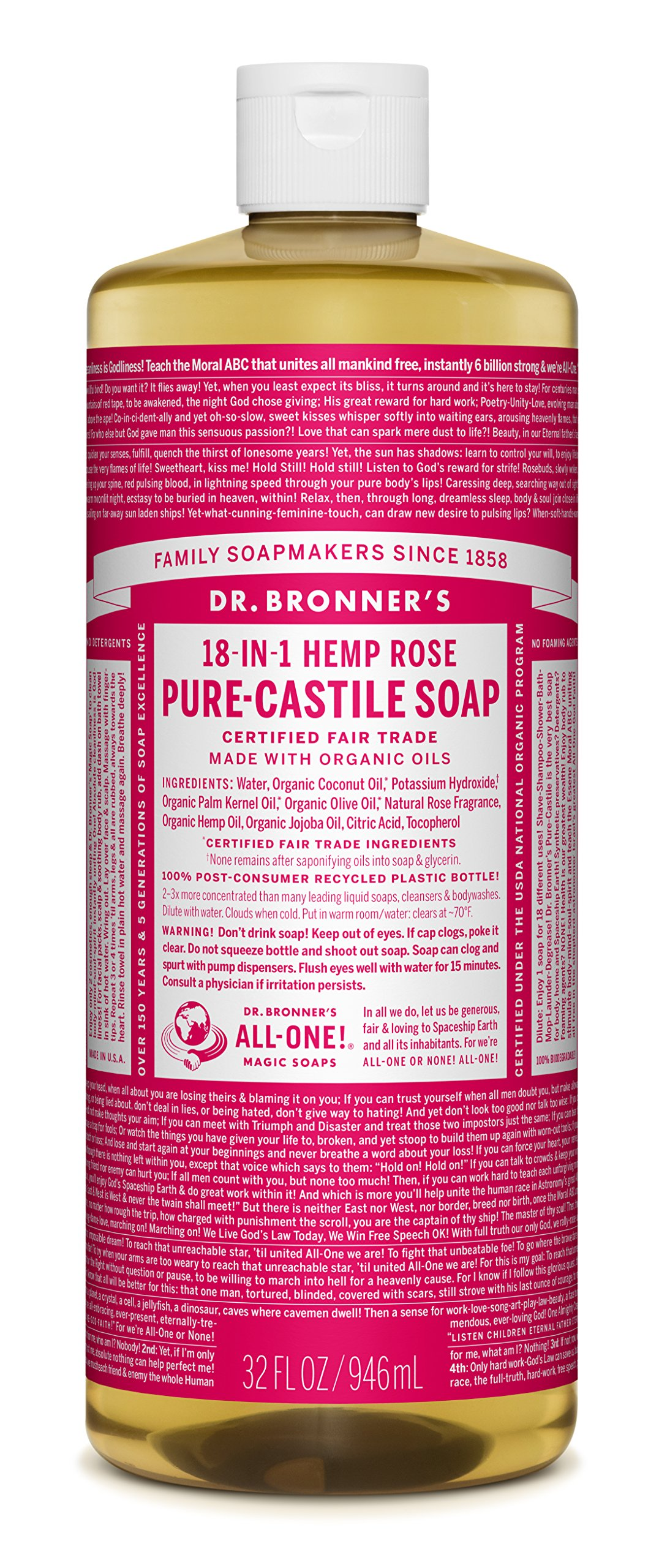 Dr. Bronner's Organic Pure Castile Liquid Soap, Rose, 32 oz