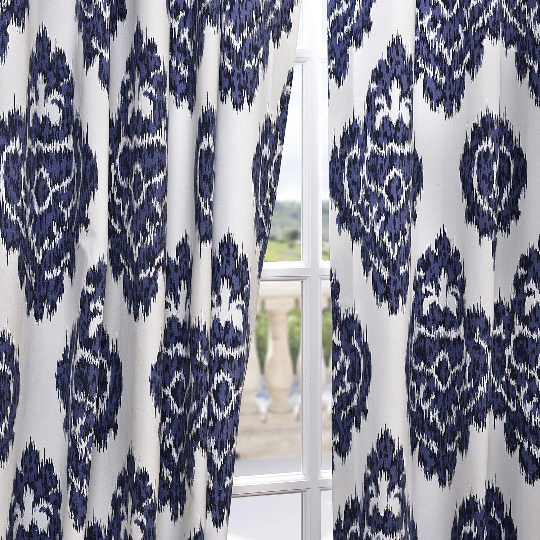 Ikat curtain panels - Amazon Com Half Price Drapes Prtw D24a 108 Printed Cotton Curtain Ikat Blue Home Kitchen