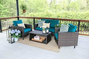 Leisure Made Draper 4 Piece Outdoor Seating, Peacock Fabric