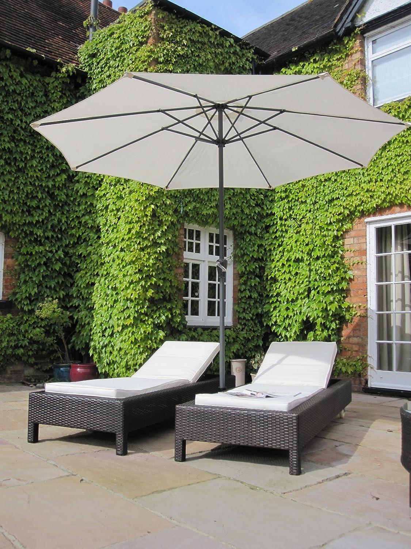 Luxury Grey Rattan Piece Sun Lounger Set Outdoor Garden