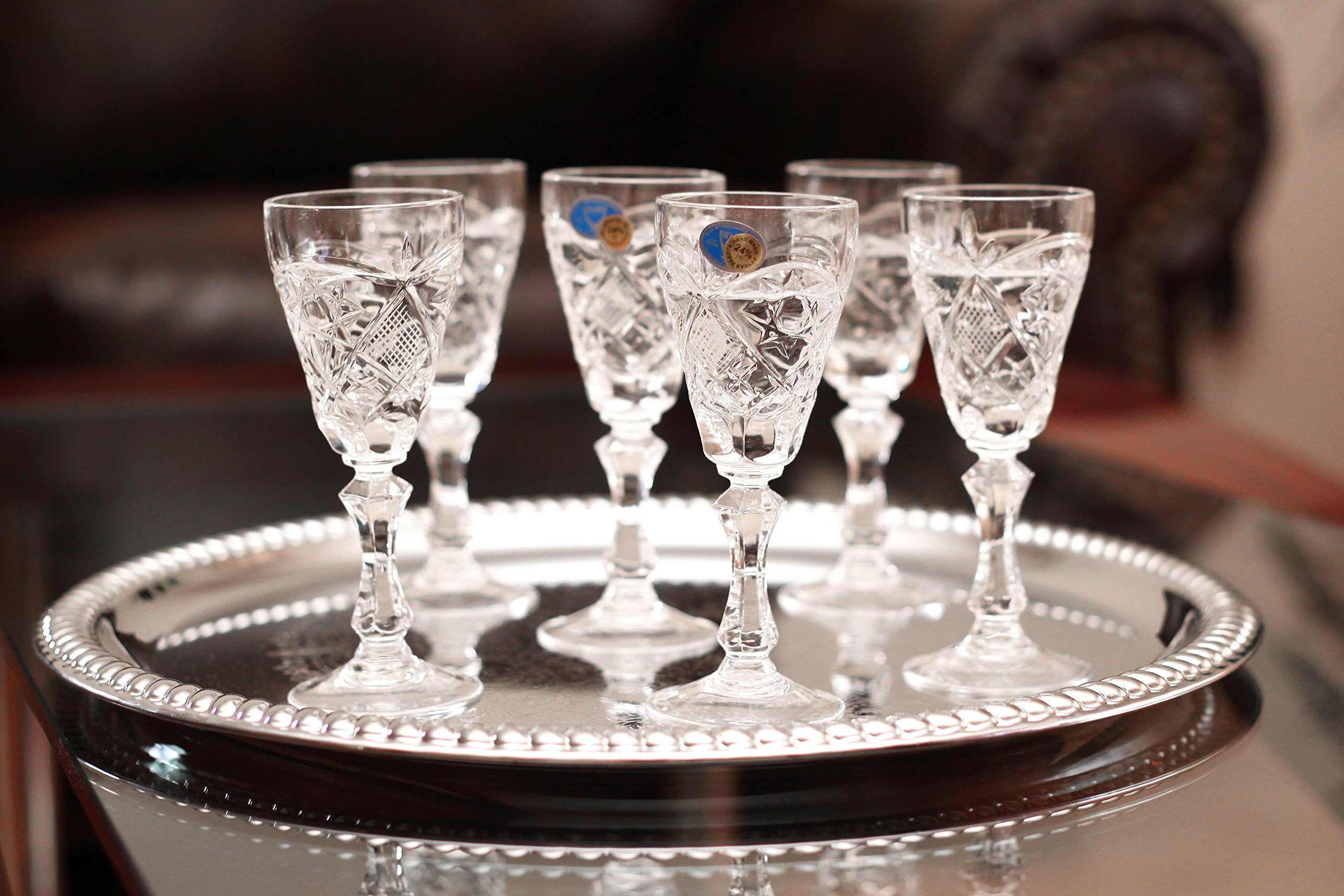 Set of 6 Neman Glassworks, 2-Oz Hand Made Vintage Russian Crystal Glasses, Liquor Glasses Old-fashioned Glassware