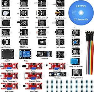 LAFVIN 37 in 1 Sensor Module Kit for R3 Board Mega2560 Mega328 Nano Compatible with Arduino IDE with Tutorial