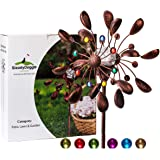 Solar Wind Spinner New 75in Jewel Cup Multi-Color Seasonal LED Lighting Solar Powered Glass Ball with Kinetic Wind…