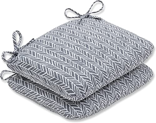 Pillow Perfect Outdoor Indoor Herringbone Slate Round Corner Seat Cushion