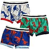 [Vaenait Baby] 2-9歳子供肌着綿100%キッズ男の子下着ブリーフ3枚組パンツショートボクサー Boxer Tyranno