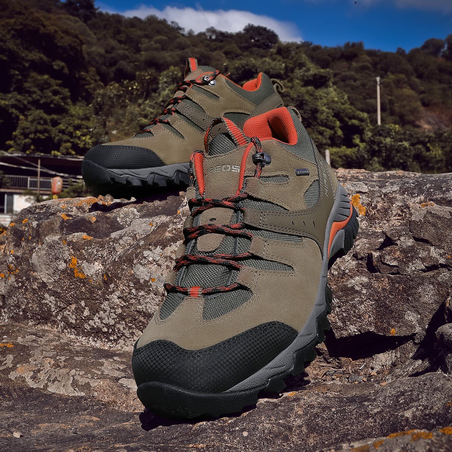 HIFEOS Hiking Boots Leather Trekking Shoes Outdoor Waterproof ...