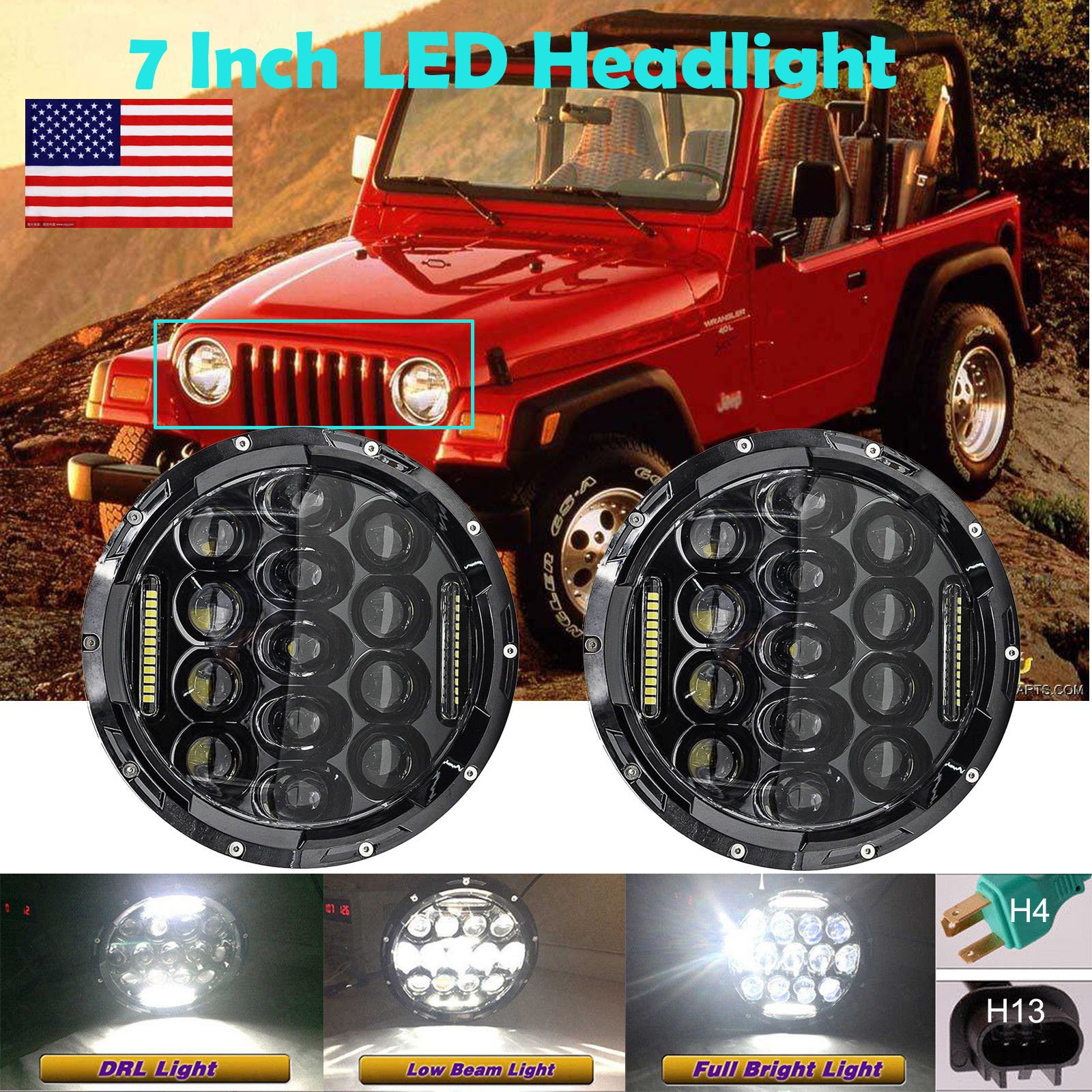 7 Inch For 1997-2006 Jeep Wrangler TJ LED Round Headlights Hi/Lo Double Beam DRL Driving Lamp Replacement 75W 6000K H5024 5024 6012 6014 6015 H6017 H6024 2PCS