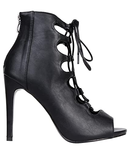 newest collection 990ba 81004 Geschnürte High Heels 16102 (37,Schwarz): Amazon.de: Schuhe ...
