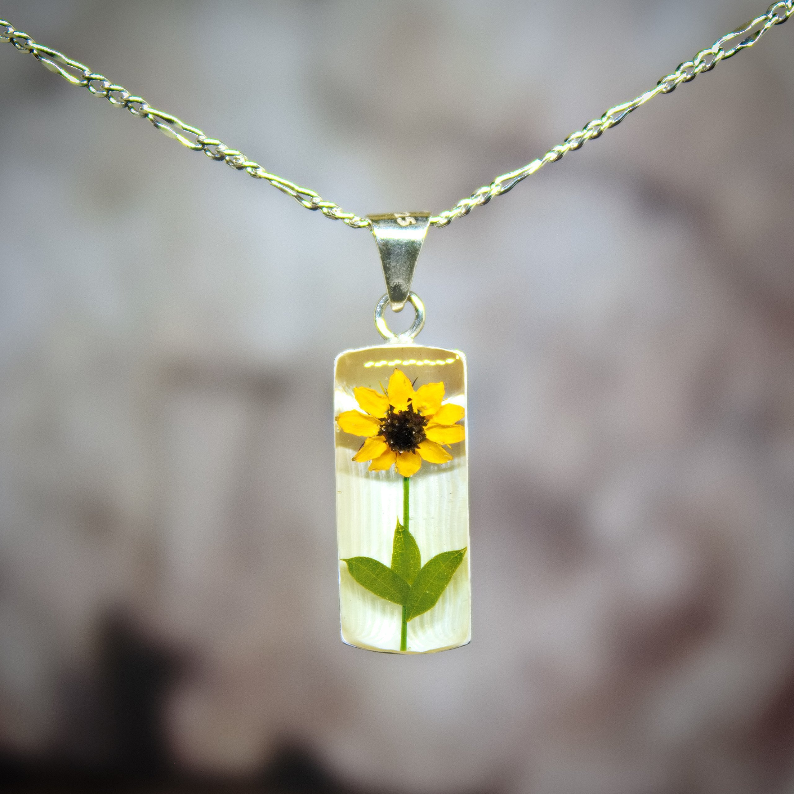 Sterling Silver Necklace with a Real Natural Pressed Miniature Sunflower (Symbol of Happiness and Light) with a 17.71 inches Sterling Silver Chain