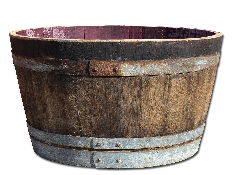 Half Wine Barrel Solid Oak Wood Rustic As Rain Barrel Flower