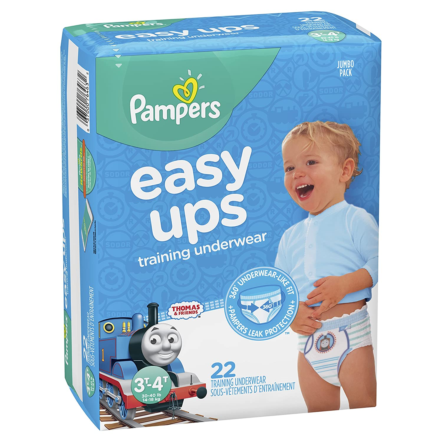 Pampers Easy Ups Pull On Disposable Training Diaper for Boys, Size 4 (2T-3T), Jumbo Pack, 25 Count Procter and Gamble