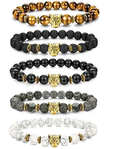 2987039edb FIBO STEEL 1-5 Pcs Lava Rock Stone Bead Bracelet for Men Women Leopard Head