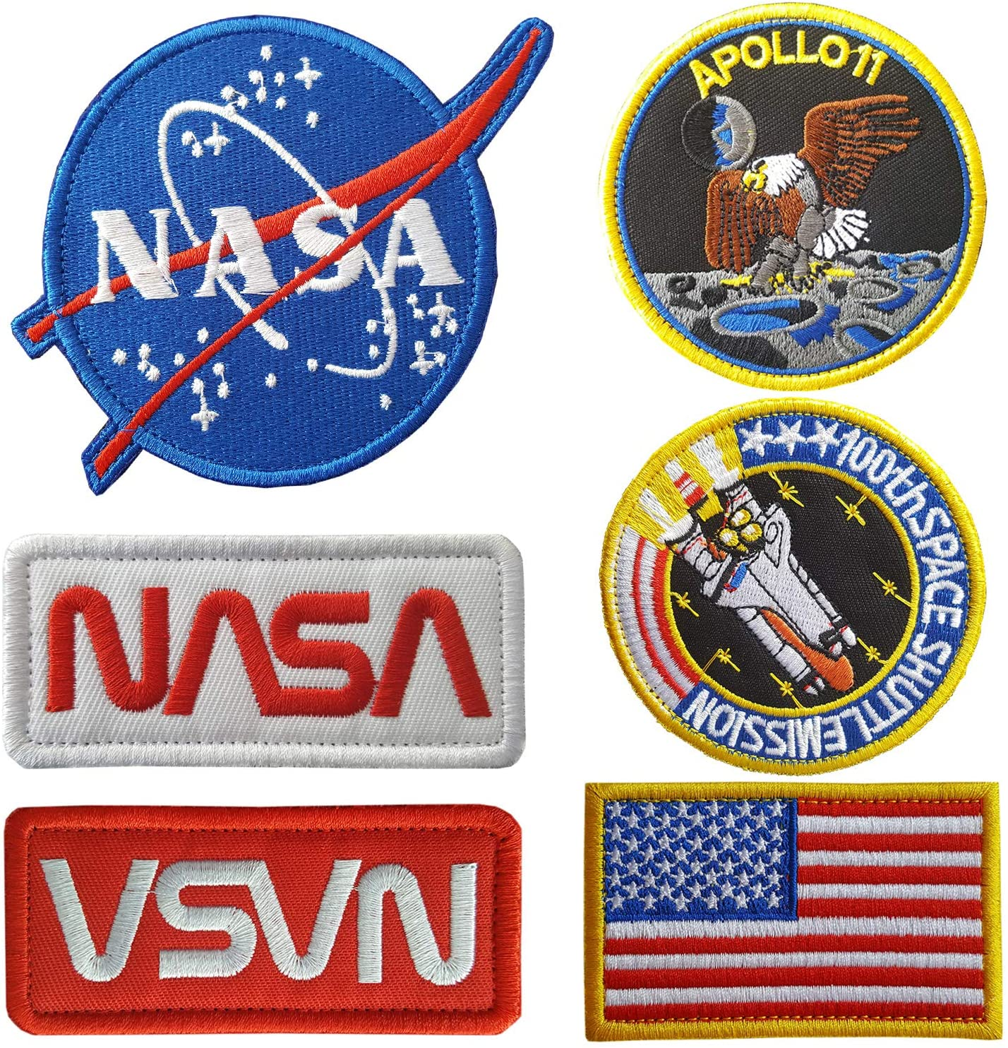 Lightbird NASA Patches 6 Pieces,Embroidered Sew On Space Patches,Tactical US Flag Patch (Hook and loop backing)