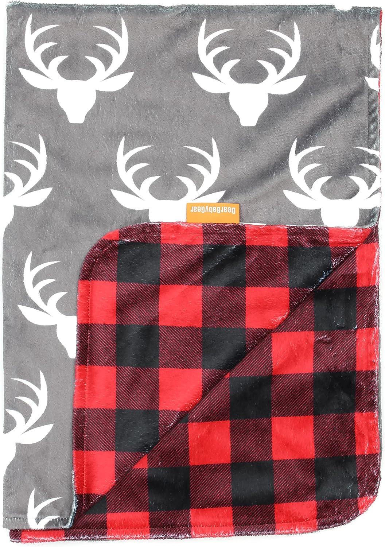 Dear Baby Gear Deluxe - Manta para bebé con diseño de cuernos de canopy, flechas, caballos del sudoeste rojo BB Antlers/Red and Black Buffalo Plaid Talla:Baby Blanket