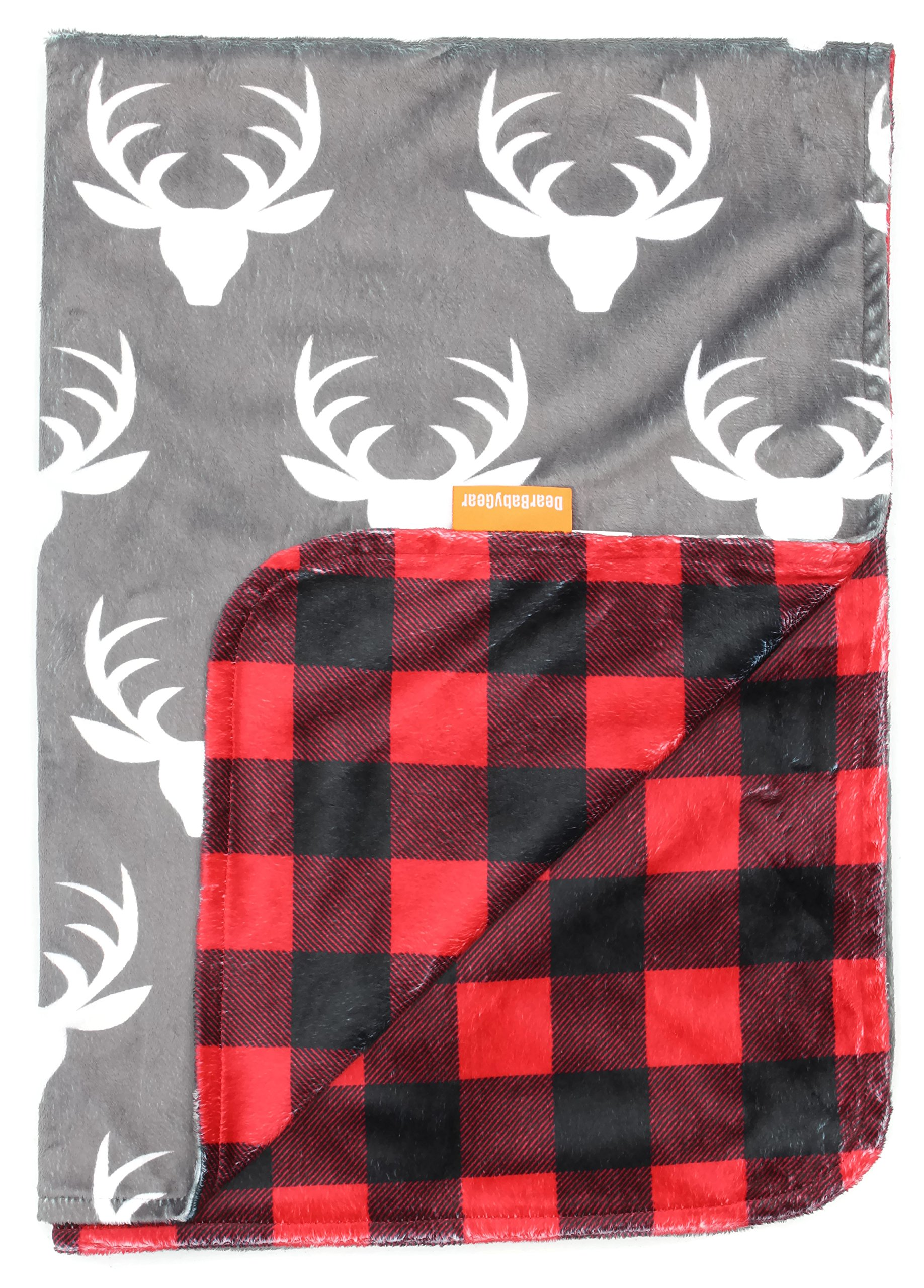 Dear Baby Gear Deluxe Reversible Baby Blankets, Custom Minky Print White Antlers, Red and Black Buffalo Plaid Minky