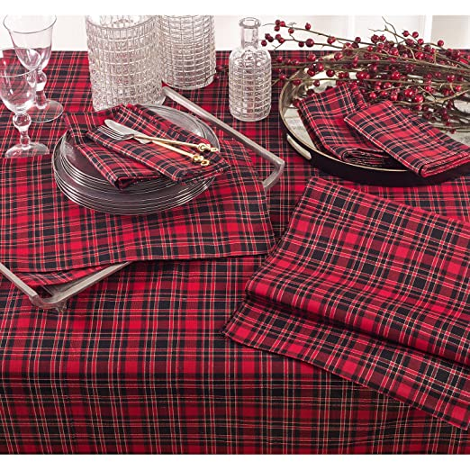 Christmas Tablescape Decor - Red Christmas Holiday Plaid Design Placemats Set of 4