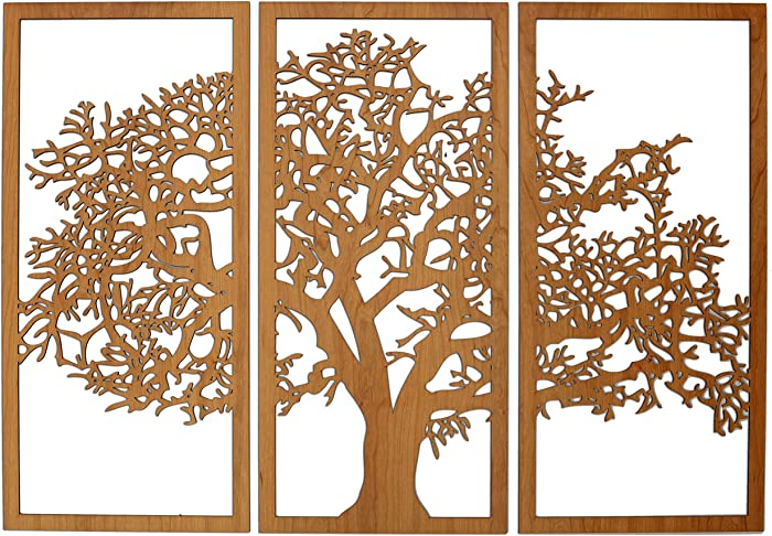 Skyline Workshop Tree of Life Cherry - 3 Panel Wood Wall Art - Beautiful Living Room Decor - Stunning Modern Art