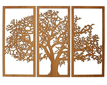 Skyline Workshop Tree Of Life Cherry 3 Panel Wood Wall Art Beautiful Living Room Decor Stunning Modern Art
