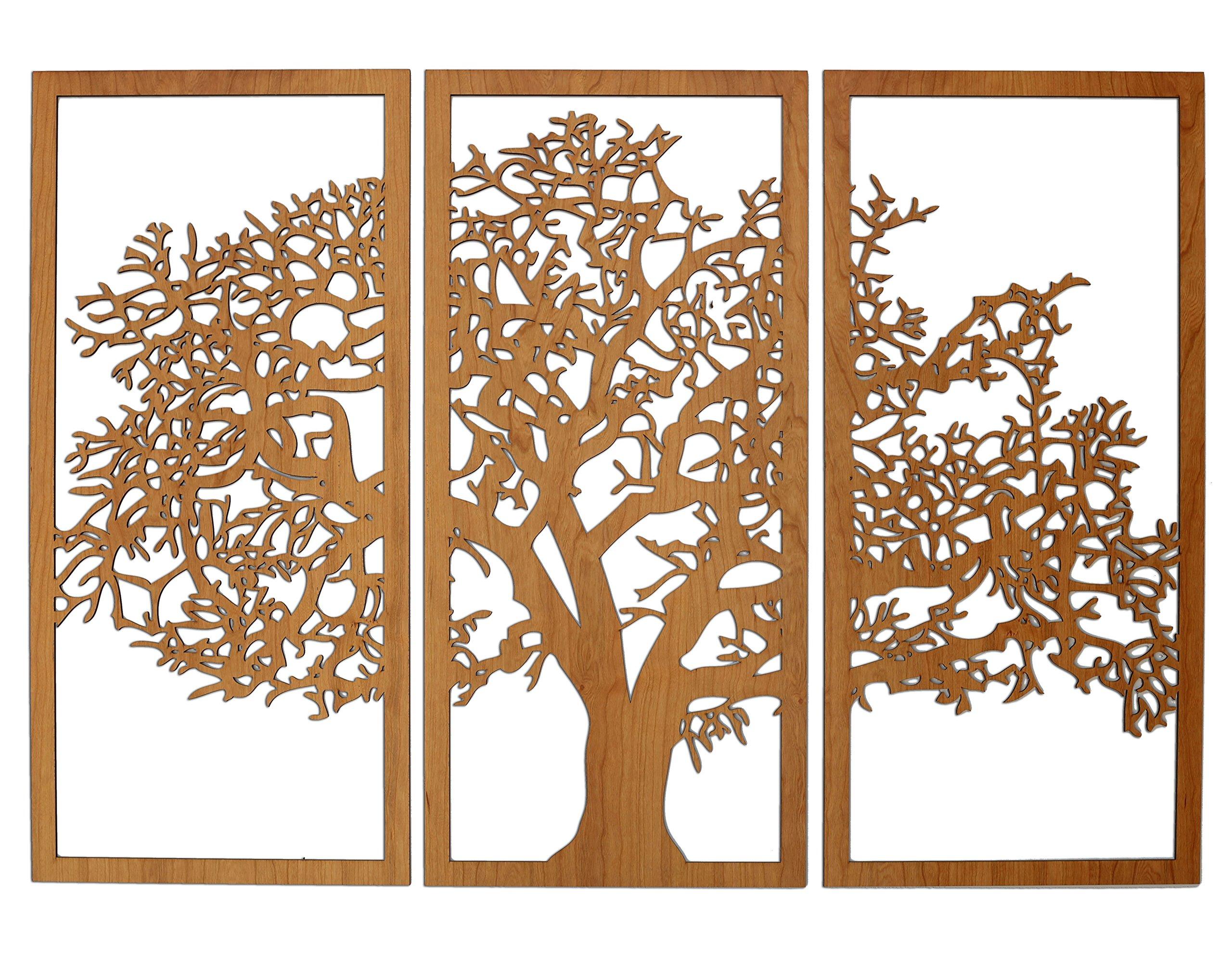 Tree of Life 3D Cherry - 3 Panel Wood Wall Art - Beautiful Living Room Decor - Skyline Workshop