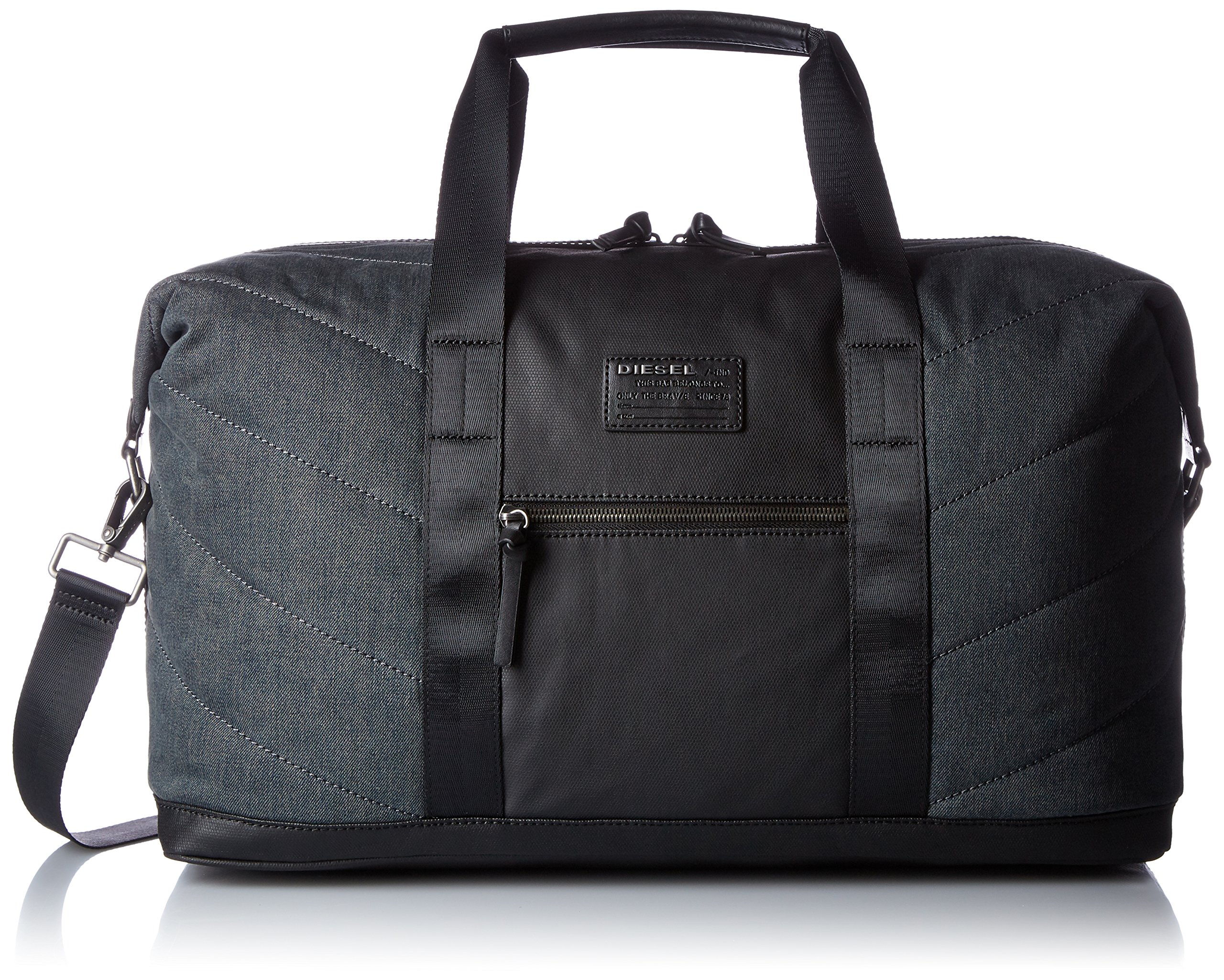 Diesel Men's Denim Duffle Bag, Dark Blue/Black