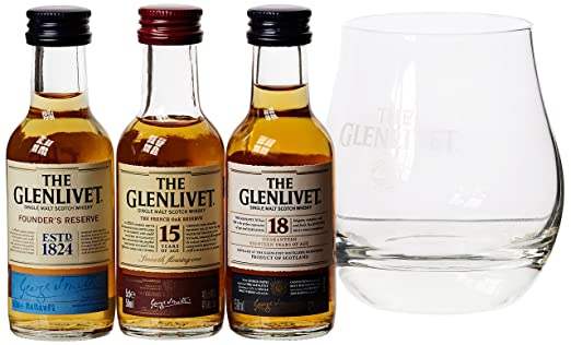 The Glenlivet Trio Scotch Whisky Gift Set with Glass, 5 cl: Amazon ...