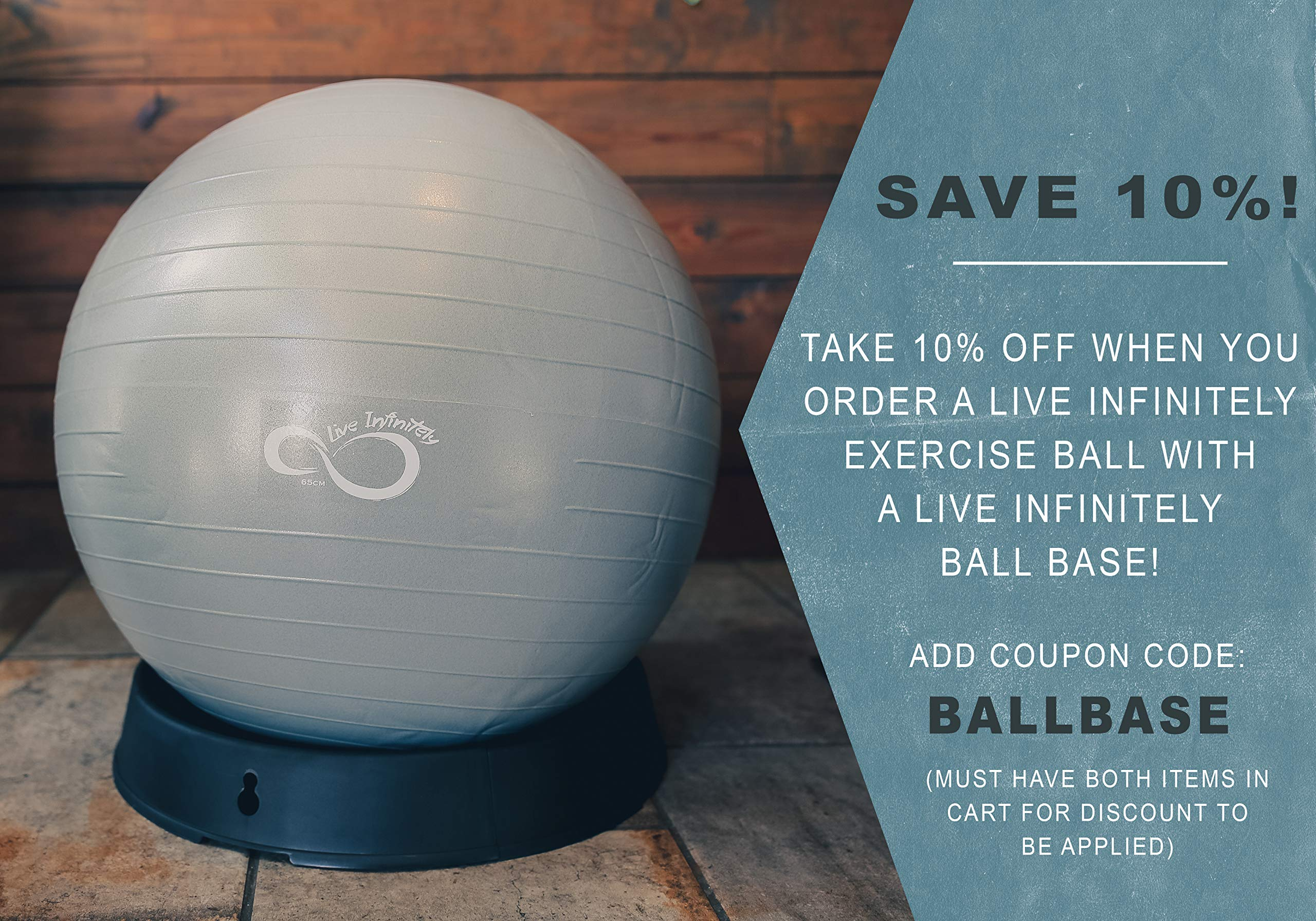 Live Infinitely Exercise Ball (55cm-95cm) Extra Thick Professional Grade Balance & Stability Ball- Anti Burst Tested Supports 2200lbs- Includes Hand Pump & Workout Guide Access Silver 55cm by Live Infinitely (Image #4)