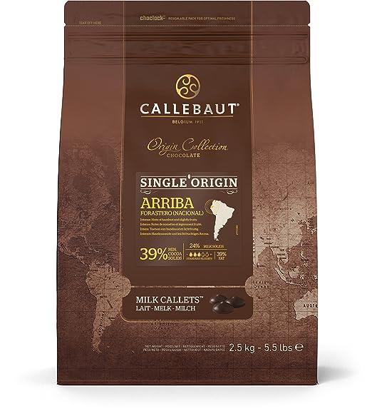 Callebaut Origen, Arriba 39% chips de chocolate con leche 2.5kg