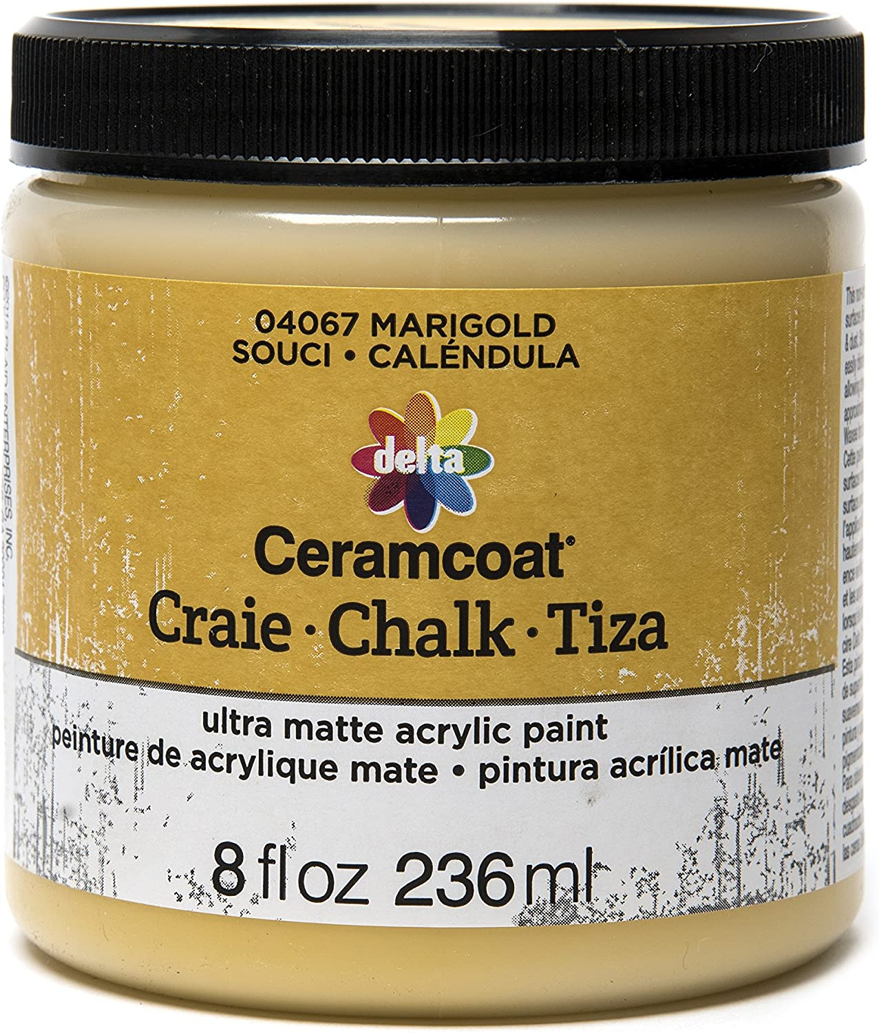 Delta Creative Ceramcoat Ultra Matte Chalk Furniture & Craft Paint in Assorted Colors (8 Ounce), Marigold