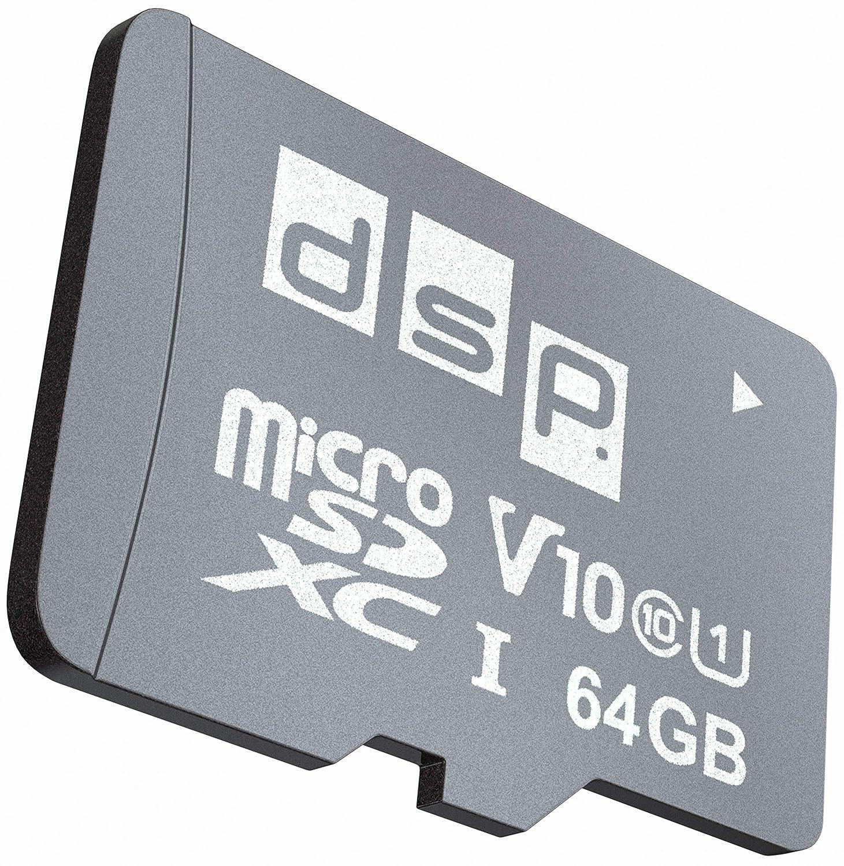 DSP Memory 64 GB microSD 5.0 SDXC Tarjeta de Memoria, C10, U1, V10 + Adaptador SD hasta 100 MB/s