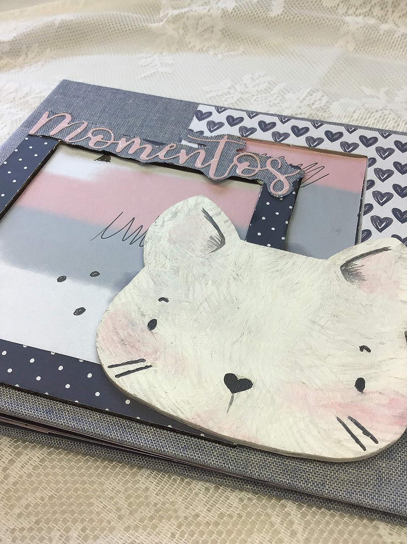 album de fotos de color rosa negro, gris, decorado con gato blanco