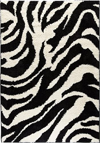 Well Woven Madison Shag Safari Zebra Black Animal Print Area Rug 3 3 X 5 3