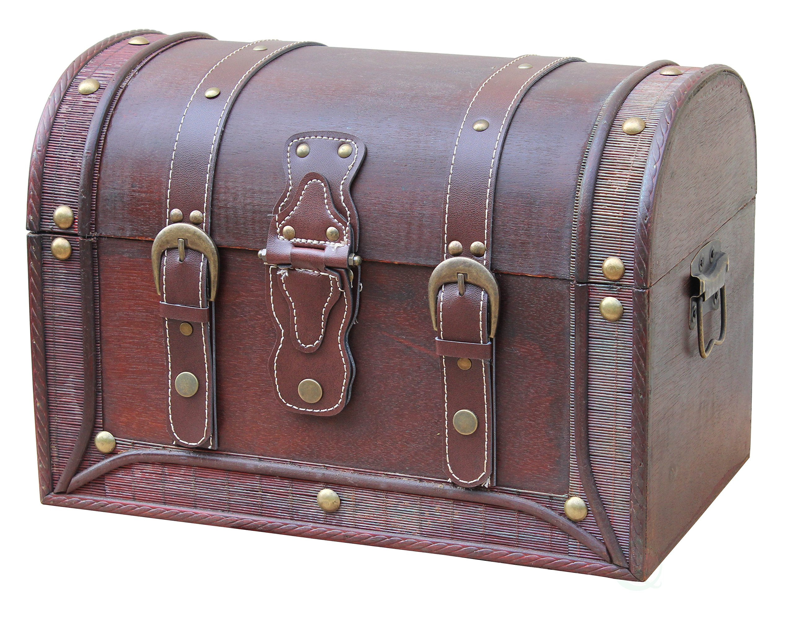 Vintiquewise(TM) Antique Style and Leather Trunk with Round Top by Vintiquewise