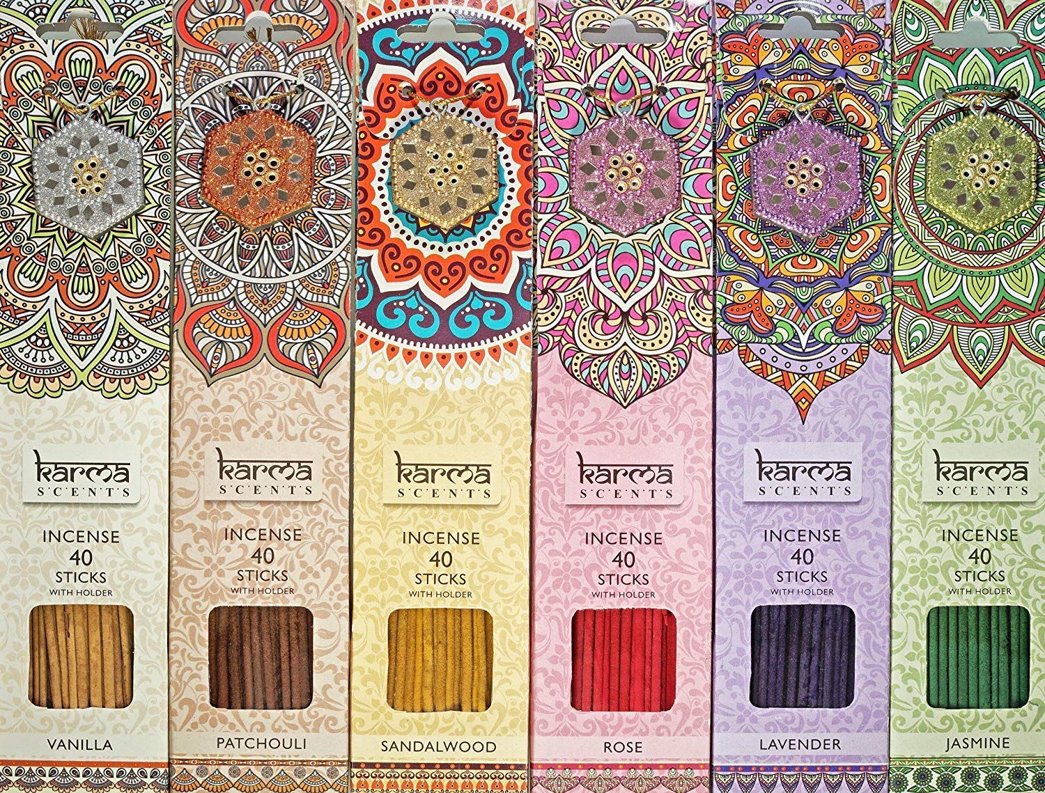Karma Scents Premium Incense Sticks 6 Set Pack, Lavender, Patchouli, Vanilla, Sandalwood, Jasmine, and Rose. Each Pack Comes with a sparkley Holder in Each Box 240 Sticks by Karma Scents (Image #1)