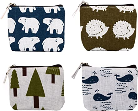 Hand Pattern Canvas Change Coin Purse Assorted Wallet Bag With Zip