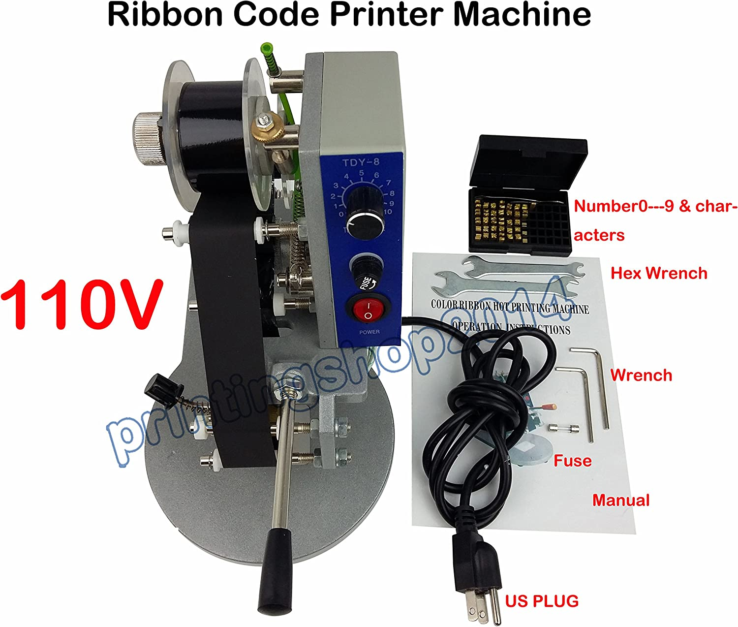 110V Ribbon Printing Machine Date Code Machine Hot Code Stamp Printer Embossers for PVC Leather PU Paper GUANG Electric Hot Foil Stamping Machine