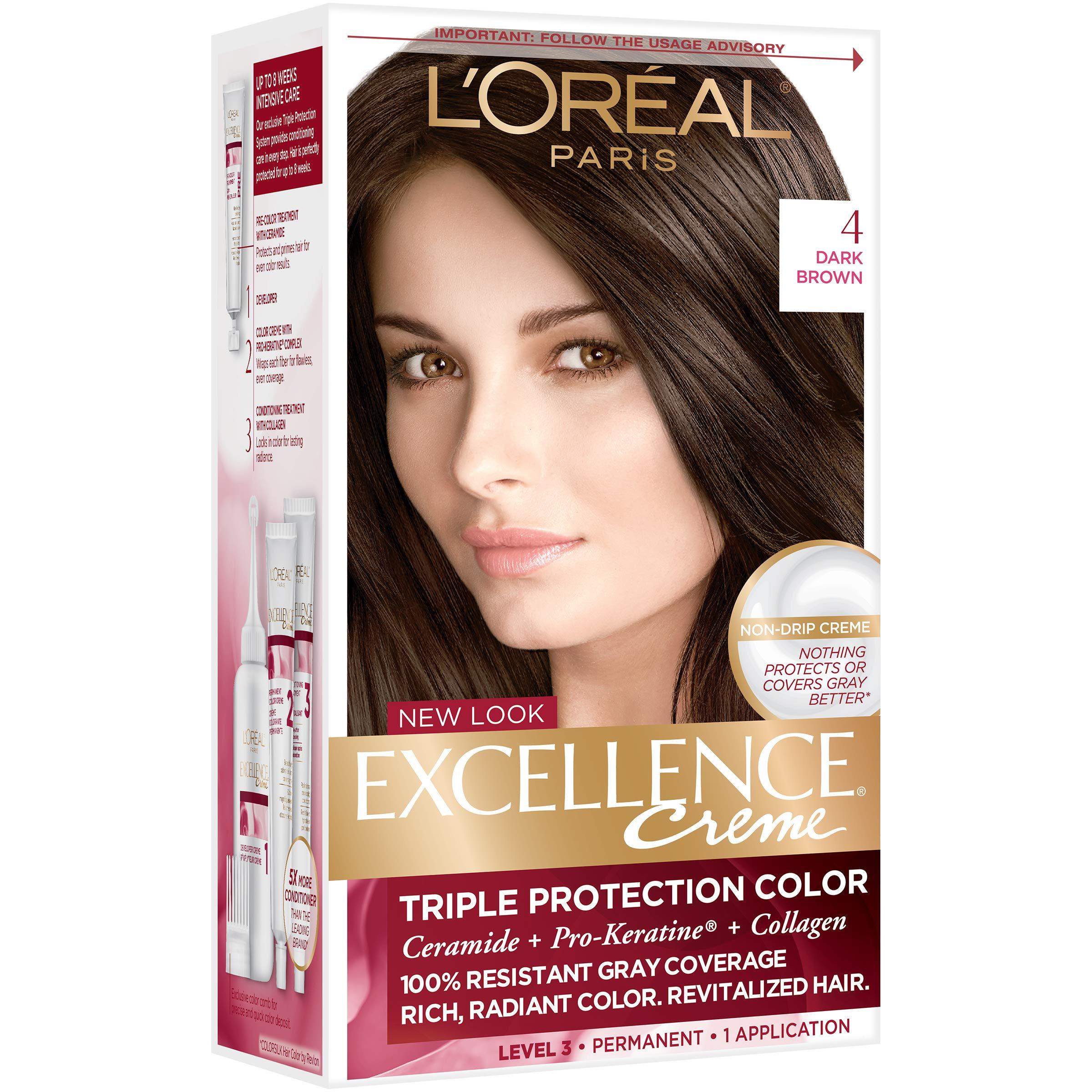 LOreal Paris Excellence Creme Hair Color, 4 Dark Brown  Amazon