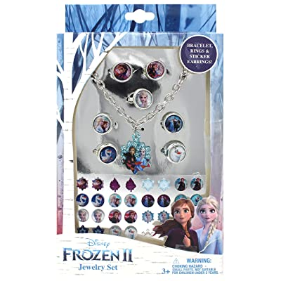 Luv Her Frozen 2 Girls 24 Piece Toy Jewelry Box Set with 7 Rings, Bracelet and 16 Pairs of Sticker Earrings: Toys & Games
