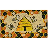 Imports Decor Decorated Coir Doormat, Beehive Design, 18-Inch by 30-Inch