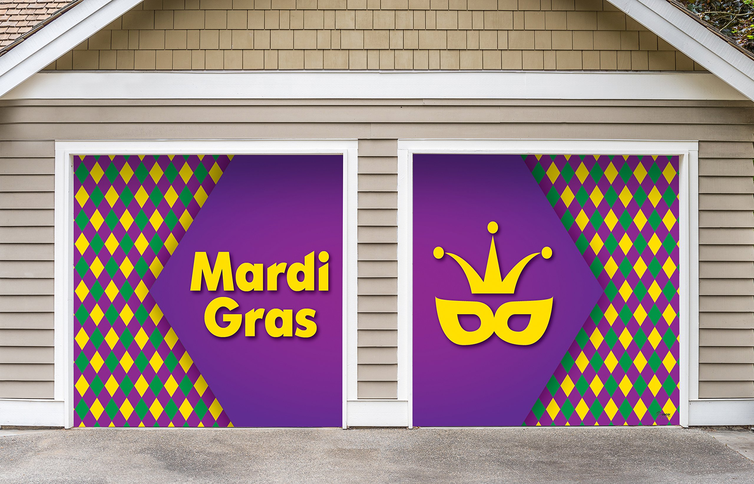 Outdoor Mardi Gras Decorations 2 Car Split Garage Door Banner Cover Mural - Mardi Gras Diamonds, Two 7'x 8' Graphic Kits - ''The Original Mardi Gras Supplies Garage Door Banner Decor''