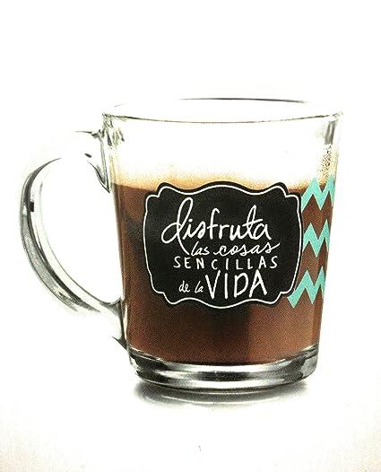 Juego De 2 Tazas Para Cafe O Te De Vidrio Con Frases Amazon