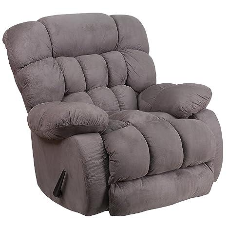 Phenomenal Flash Furniture Contemporary Softsuede Graphite Microfiber Rocker Recliner Short Links Chair Design For Home Short Linksinfo