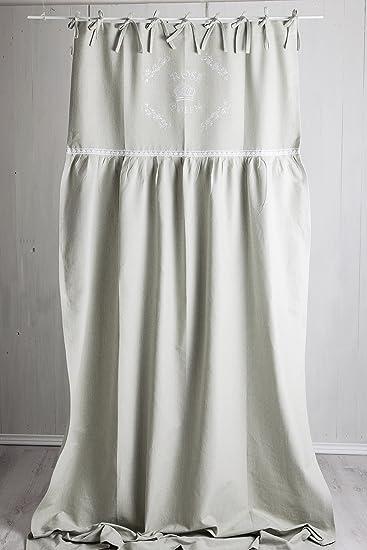 Amazon.de: Rose Queen grau / weiss bestickt Vorhang 250cm Länge ...