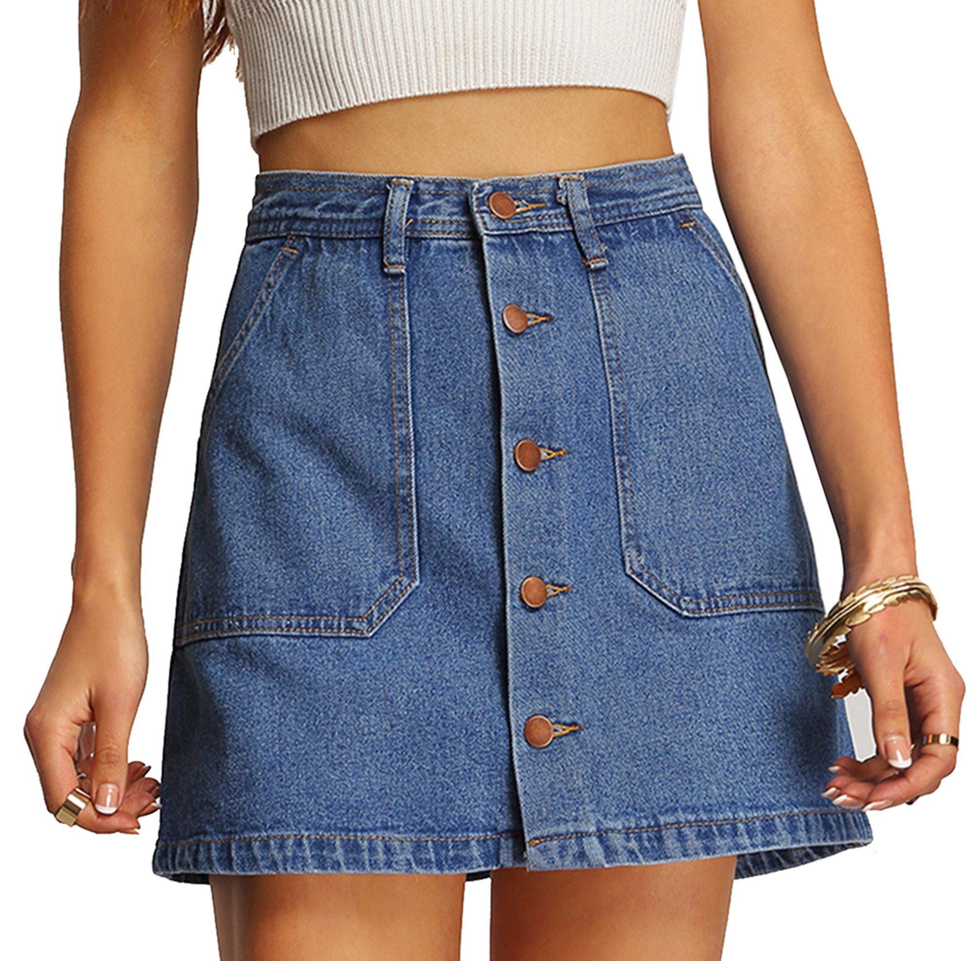 SheIn Women's Button Front Denim A-Line Short Skirt - A-Blue Large