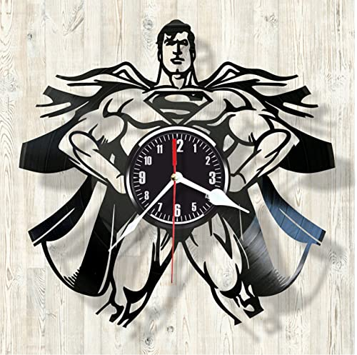 Superman Comics character superhero vinyl wall clock- Modern room decor – Unique Handmade gift for friends and someone you love